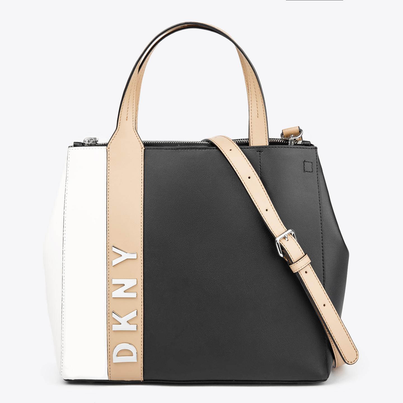 fa1429d9499b Черная кожаная сумка-тоут Bedford-Top среднего размера с цветными вставками  DKNY ...