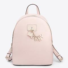6af1b13668bd ... Нежно-розовый кожаный рюкзак Elissa среднего размера с фирменным  брелоком DKNY R84KH933 light pink