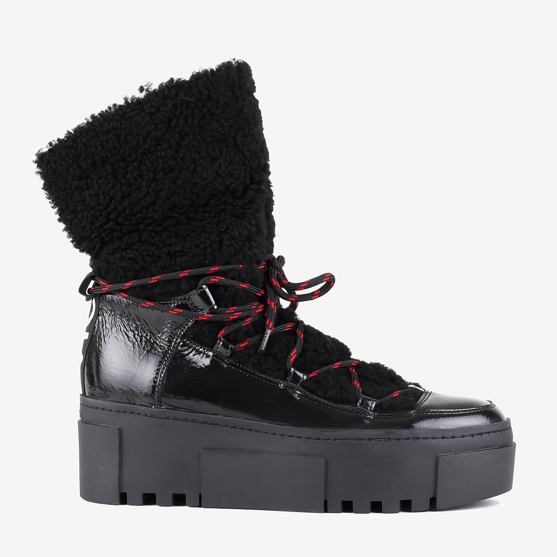 774aeedfbc70 Черные утепленные ботинки на платформе из лаковой кожи – Италия ...
