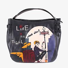 ab273514386b ... Черная кожаная сумка среднего размера с ручной росписью Baiadera T1531  black multicolor