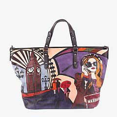 bb3d62912eb4 ... Трапециевидная кожаная сумка-тоут среднего размера с ручной росписью  Baiadera T1546 multicolor