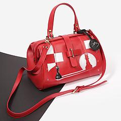 54d230681267 ... Красная кожаная сумка-саквояж с ручной росписью Alexander TS W0025 red  chess