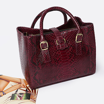 Сумка из кожи питона Geuco mini Love wine burgundy python