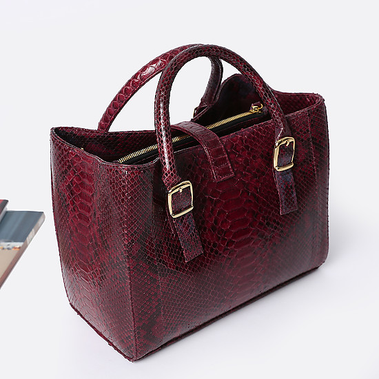 Сумки через плечо Geuco mini Love wine burgundy python