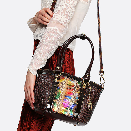 Классические сумки Marino Orlandi mo4538 croc brown multicolor python