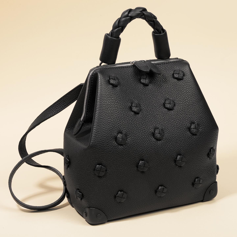 7182d69c64b3 Дизайнерские сумки Панаскин pan2001 black. Черный кожаный рюкзак с узелками  Panaskin ...